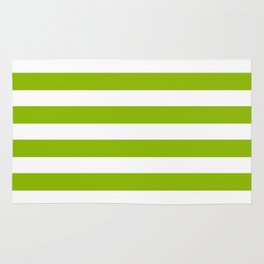 Spring Fresh Apple Green & White Stripes - Mix & Match with Simplicity of Life Rug