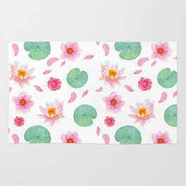 Watercolor blush pink green yellow water lilies lotus floral Rug