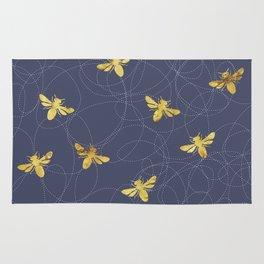 Flying Gold Bees On A Dark Blue Background Rug
