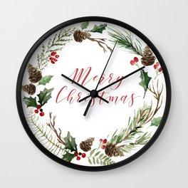 Merry Christmas Rustic Winter Wreath Wall Clock