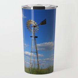 Kansas Country Windmill in a Pasture Travel Mug