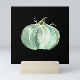 Blue Watercolor Pumpkin on Black Mini Art Print