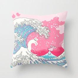 Psychodelic Bubblegum Kunagawa Surfer Cat Throw Pillow