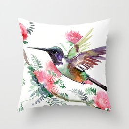 Flying Hummingbird and Red Flowers Throw Pillow