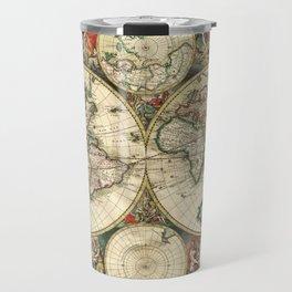 Old map of world (both hemispheres) Travel Mug