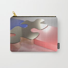Golden puzzle joins blue and pink puzzle pieces - 3D rendering Carry-All Pouch
