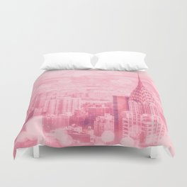 Pink and Bubbly New York City Duvet Cover