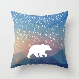 Beary Snowy in Blue Throw Pillow