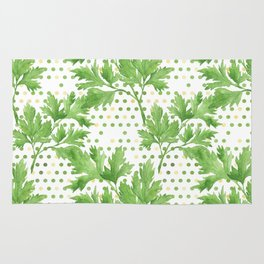Parsley on Green Yellow Dots Rug