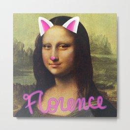 Mona Lisa Cat Filter Metal Print