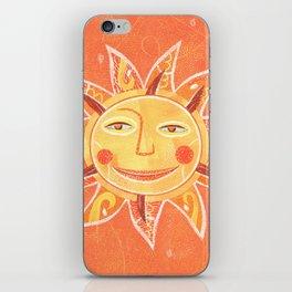Orange Smiling Sun Face iPhone Skin