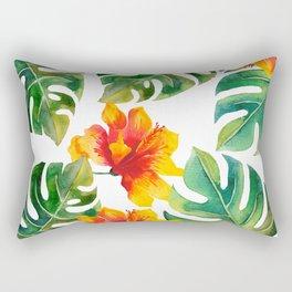 Monstera And Hibiscus Rectangular Pillow