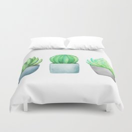 Succulent and Cacti Potted Garden Trio Duvet Cover