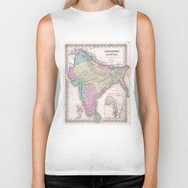 Vintage Map of India (1855) Biker Tank