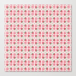 Pink Strawberry Slice Pattern Canvas Print