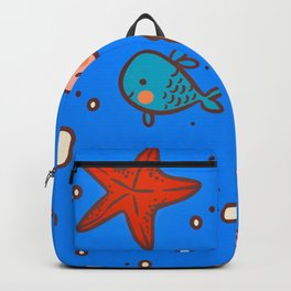 Cute Retro SeaLife Seamless Pattern Backpack