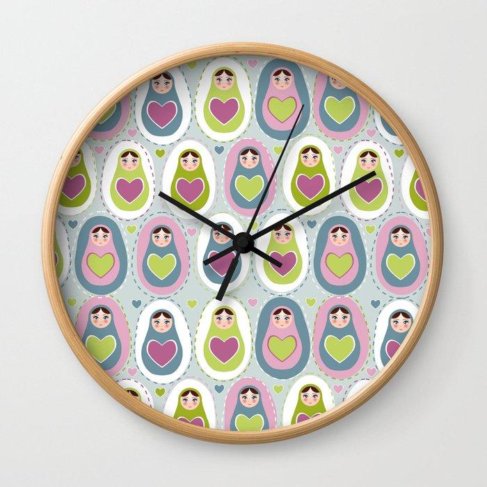 matryoshka with heart Wall Clock