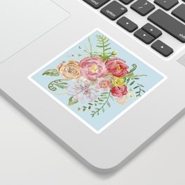 Bouquet of Watercolor on Blue Background Sticker