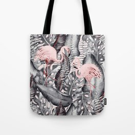 Flamingo Love - Watercolor Birds in Pink and Gray color Tote Bag
