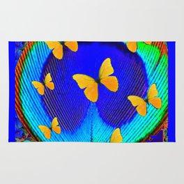 Fantastic Blue Feather Eye Yellow Butterflies Art II Rug