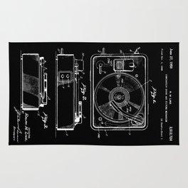 Turntable Patent - White on Black Rug