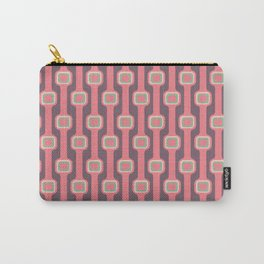 Midcentury Modern Pink Geometric vertical stripes Carry-All Pouch