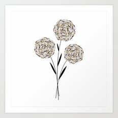 Three Tan and Black Art Print
