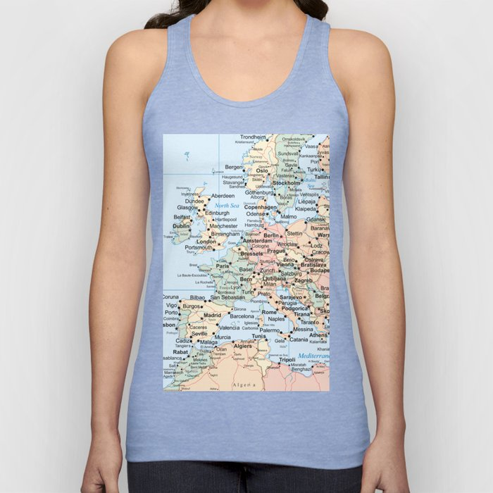 World Map Europe Unisex Tank Top