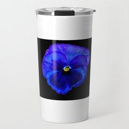 Purple Pansy on Black Travel Mug