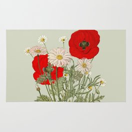 A country garden flower bouquet -poppies and daisies Rug