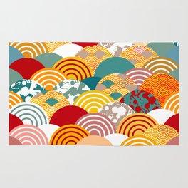 Nature background with japanese sakura flower, orange red pink Cherry, wave circle pattern Rug