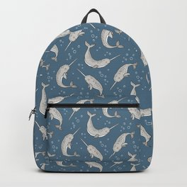 Narwhal  Grey on Navy Blue Backpack
