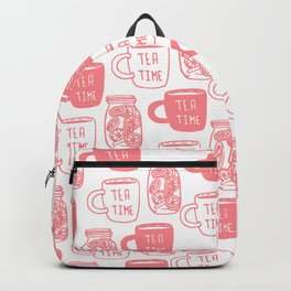 Abstract coral white tea cups modern typography Backpack