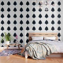 Blue & Black Leaf Wallpaper