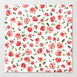 Red Roses Watercolor // Hand Painted Watercolor Floral // Rose Red and Leaf Green Canvas Print
