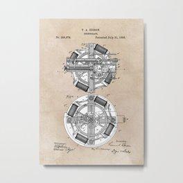patent art Edison 1888 Phonograph Metal Print
