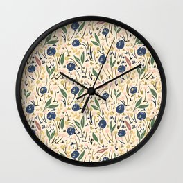 Pale Ditsy Rose Meadow Floral Pattern Wall Clock