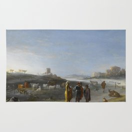 An Italianate Landscape with an unidentified subject from the Old Testament, Cornelis van Poelenburc Rug