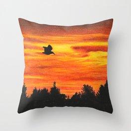 Sunset sky with bird Throw Pillow