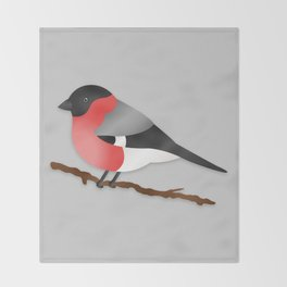 Cute Eurasian Bullfinch Cartoon Bird Illustration On Gray Throw Blanket