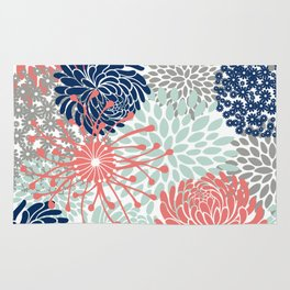 Floral Print - Coral Pink, Pale Aqua Blue, Gray, Navy Rug