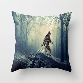 Misty Railway Bigfoot Crossing Throw Pillow