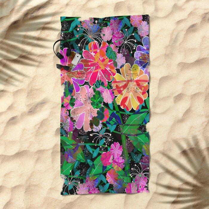 Floral Explosion Beach Towel