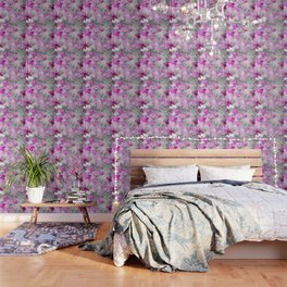CHERRY BLOSSOMS ORCHIDS AND MAGNOLIA IMPRESSIONS IN PINK GRAY AND WHITE Wallpaper