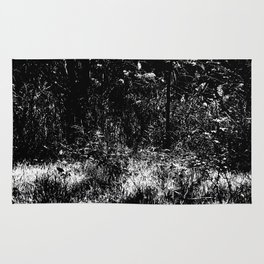 Forest mess black and white high contrast abstract plants Rug