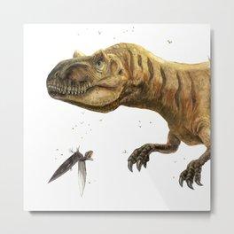 Allosaurus and Anurognathus Metal Print