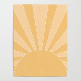 yellow and gold abstract sunrise Poster