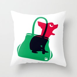 Angry animals: chihuahua - little green bag Throw Pillow