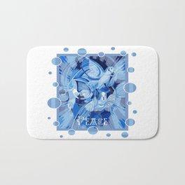 Dove With Celtic Peace Text In Blue Tones Bath Mat