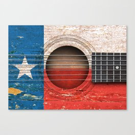 Old Vintage Acoustic Guitar with Texas Flag Canvas Print